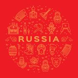 Russian icons Traditional Russian golden symbols on a red background. Flat circle infographics. Flag, matryoshka doll, vodka and food, samovar, balalaika Royalty Free Stock Photos