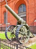 Russian 6-inch (152.4 mm) heavy siege gun model 1877. In Artillery Museum of Saint Petersburg. Was utilized in Russo-Japanese War, World War I, Russian Civil Royalty Free Stock Photography