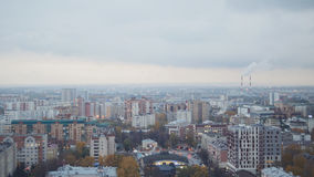 Russian industrial district - aerial panorama of autumn city in cloudy sky Royalty Free Stock Images
