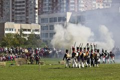 Russian infantry assaults the French battery. September 8, 2012, Moscow, Zhulebino area. History reconstruction show dedicated to 200 jubilee of the Borofino Royalty Free Stock Images