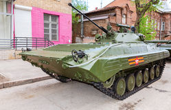 Russian infantry fighting vehicle BMP-2 during the military para. Samara, Russia - May 6, 2017: Russian infantry fighting vehicle BMP-2 during the military Royalty Free Stock Photography