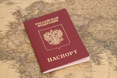 Russian International passport on map Stock Photography