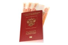 Russian international passport with money isolated on white Royalty Free Stock Image