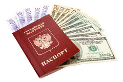 Russian international passport and money Stock Photos