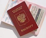 Russian international passport, stamp, and visa Stock Images