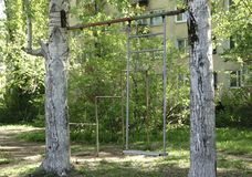 Russian iron hanging swing in green. stock photo