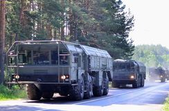 Russian `Iskander-M` missile systems arrived in Minsk to participate in the Parade stock photo