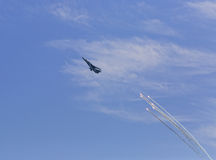 Russian jet fighter launches anti-missile flares Royalty Free Stock Photo