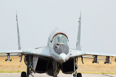 Russian jet fighter MIG-29 at aerodrome Stock Photography