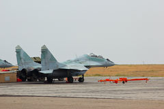 Russian jet fighter MIG-29 at airfield Stock Image