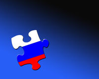 Russian jigsaw piece. A single jigsaw piece filled with flag of Russia Vector Illustration