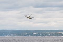 Helicopter Ka-52 Hokum B. Russian Kamov helicopter Ka 52 Hokum B Alligator aerobatics Stock Photo