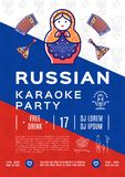 Russian karaoke music party poster or flyer. Colorful russian icons, Flag background, Flat symbols. Balalaika, matryoshka doll, drink and food, vodka, samovar Royalty Free Stock Photo