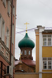 Russian, Kazan, 14 september 2016 - the dome of the old believers ' Church among residential buildings. Telephoto royalty free stock photo
