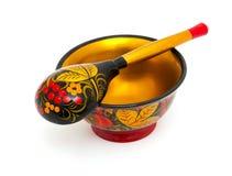 Russian Khokhloma bowl and spoon Stock Photography