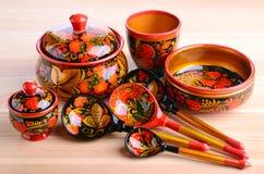 Russian khokhloma kitchen utensils Stock Image