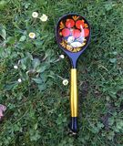 Folk Design Russian Khokhloma spoon. Russian Khokhloma Wooden spoon on grass background Royalty Free Stock Photos