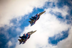 The Russian Knights aerobatic demonstration team of the Russian Air Force Stock Image
