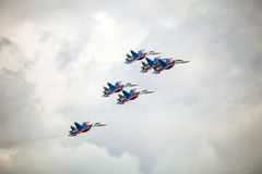 The Russian Knights aerobatic demonstration team of the Russian Air Force Stock Images