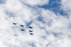 Russian Knights aerobatic team in the sky Royalty Free Stock Images