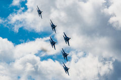 Russian Knights aerobatic team Sukhoi Su-27 fighters at MAKS 2015 Airshow Royalty Free Stock Images