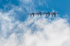 Russian Knights aerobatic team Sukhoi Su-27 fighters at MAKS 2015 Airshow Royalty Free Stock Photo
