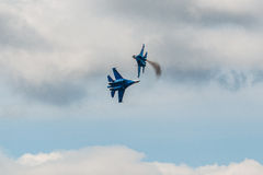 Russian Knights aerobatic team Sukhoi Su-27 fighters at MAKS 2015 Airshow Stock Image