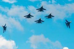 Russian Knights aerobatic team Sukhoi Su-27 fighters at MAKS 2015 Airshow Royalty Free Stock Image