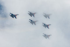 Russian Knights aerobatic team Sukhoi Su-27 fighters at MAKS 2015 Airshow Royalty Free Stock Photography