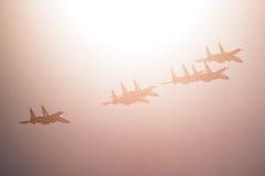 Russian Knights aerobatic team Sukhoi Su-27 fighters at MAKS 2015 Airshow Stock Photos