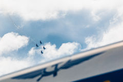 Russian Knights aerobatic team Sukhoi Su-27 fighters at MAKS 2015 Airshow Royalty Free Stock Image
