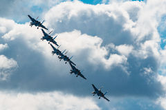 Russian Knights aerobatic team Sukhoi Su-27 fighters at MAKS 2015 Airshow Stock Photography