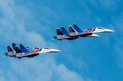 Russian Knights demonstration flights. Russia, Moscow, airport Zhukovsky. July 22, 2017. Stock Photography