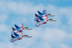 Russian Knights demonstration flights. Russia, Moscow, airport Zhukovsky. July 22, 2017. Russian Knights demonstration flights. Russia, Moscow, airport Stock Photo