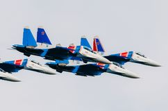 Russian Knights demonstration flights. Russia, Moscow, airport Zhukovsky. July 22, 2017. Royalty Free Stock Photos