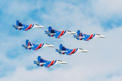 Russian Knights demonstration flights. Russia, Moscow, airport Zhukovsky. July 22, 2017. Royalty Free Stock Photography