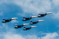 Russian Knights demonstration flights. Russia, Moscow, airport Zhukovsky. July 22, 2017. Royalty Free Stock Photo