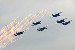 Russian Knights on SU-27 Stock Photography