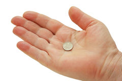Russian 1-kopeck coin in the palm Stock Photo