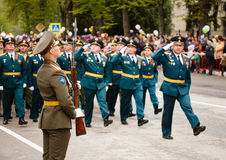 RUSSIAN, KOZELSK, MAY 9, 2017, Victory Day, May 9. Military Para. De on anniversary of Victory in Great Patriotic War. Soldiers marching show at mass Stock Photo