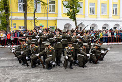RUSSIAN, KOZELSK, MAY 9, 2017, Victory Day, May 9. Military Para. De on anniversary of Victory in Great Patriotic War. Soldiers marching show at mass Stock Photography