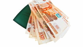 Russian Labour Book and growing stack of russian rubles stock video