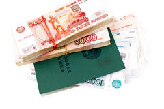 Russian Labour book and one million rubles Stock Photos