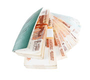 Russian Labour Book and stacks of banknotes Stock Images