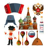 Russian landmarks and different traditional symbols. Vector russia culture, national russian traditional illustration Royalty Free Stock Photography