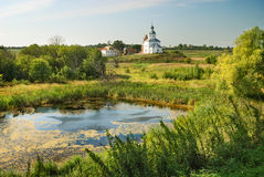 Russian landscape with old church Royalty Free Stock Images