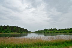 Russian landscape with a pond in Pushkin Mikhailovskoe Stock Images