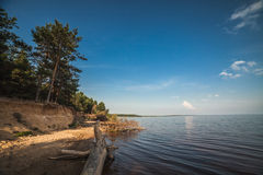 Russian landscape at Rybinsk Reservoir. Near Cherepovets Stock Image