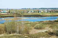 Russian landscape with village and Moscow River Stock Photo