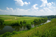 Russian Landscape With River Royalty Free Stock Photos